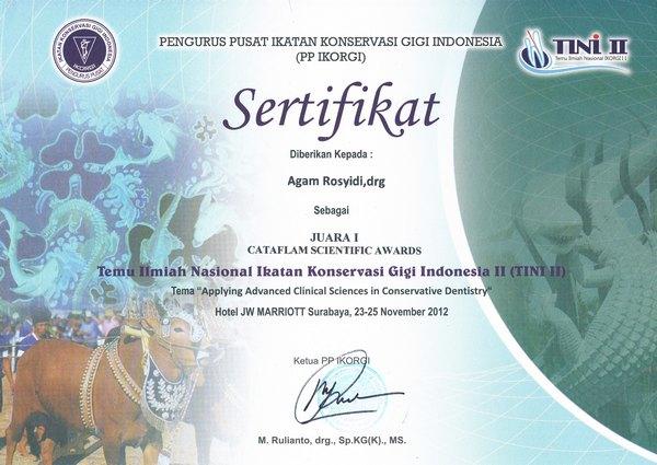 Agam Rosyidi, drg., SpKG juara 1 dokter gigi tingkat nasional